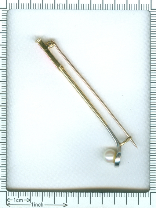 Vintage Art Deco golf club with pearl and rubies gold and platinum pin by Unknown Artist