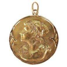Original Art Nouveau gold pendant with womans head set with diamonds