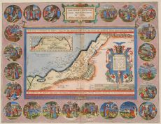 HOLY LAND WITH THE WANDERINGS OF ABRAHAM IN BEAUTIFUL ORIGINAL COLOUR by Ortelius, Abraham