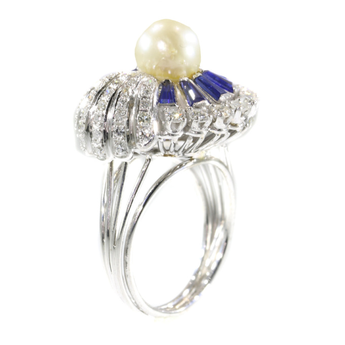 Vintage platinum diamond sapphire and pearl cocktail ring by Unknown Artist