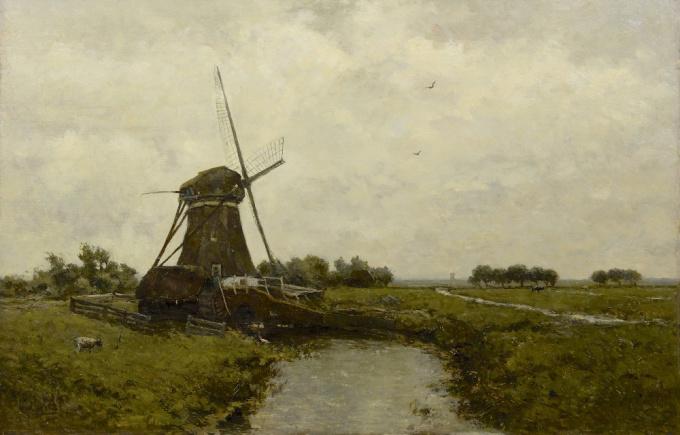 Windmill near Leidschendam by Paul Gabriel