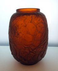 A great early deep amber red 'Monnaie du Pape' vase