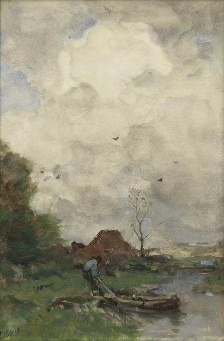 A man with a moored rowing boat by Jacob Maris