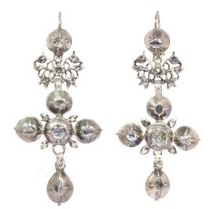 Rare Flemish cross earrings gold backed silver pendants with rose cut diamonds by Unknown