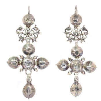 Rare Flemish cross earrings gold backed silver pendants with rose cut diamonds by Unknown Artist