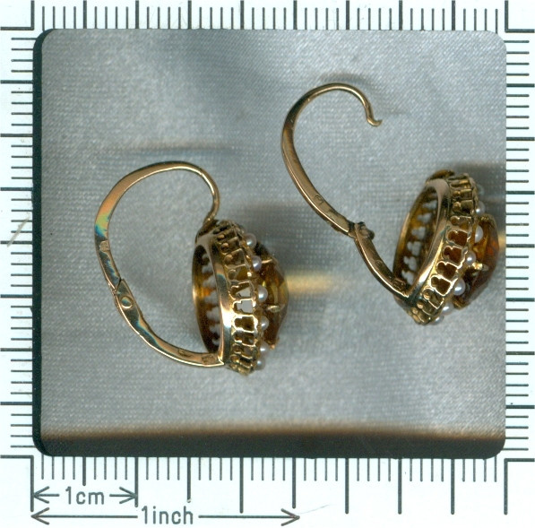 Portuguese vintage earrings with citrine and seed pearls by Unknown Artist