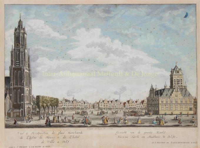 Gezicht van de groote Markt, Nieuwe Kerk en Stadhuis te Delft by Unknown Artist