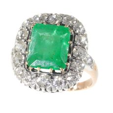 Victorian ring with old mine brilliant cut diamond and large emerald by Unknown Artist
