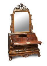 Dutch Louis Quinze miniature bureau with mirror by Unknown Artist