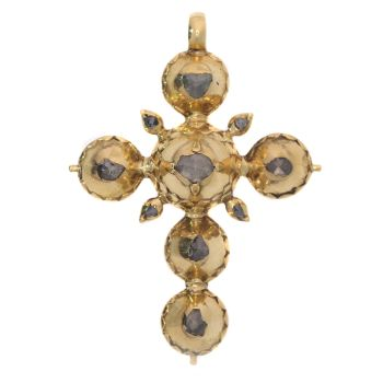 Pre Victorian antique gold cross with foil set rose cut diamonds by Unknown Artist