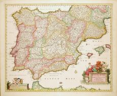 Beautiful example of an Iberian peninsula map showing Spain and Portugal and Balearic Islands by Visscher, Nicolaes