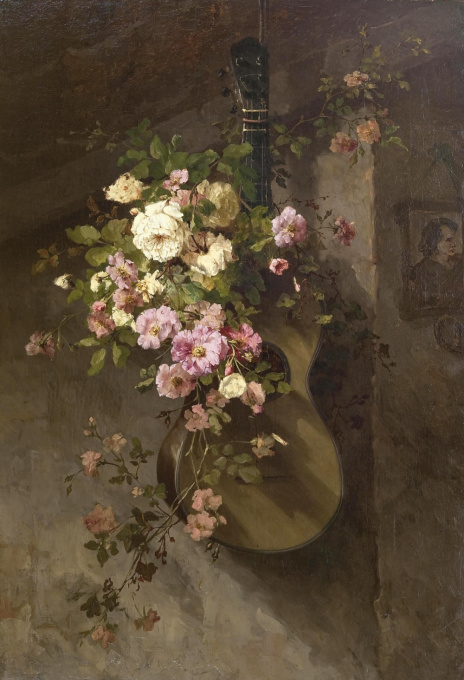 Roses on a Spanish guitar by Margaretha Roosenboom