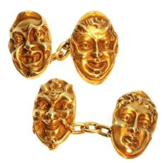 Antique cufflinks French 18K yellow gold mask by Unknown Artist