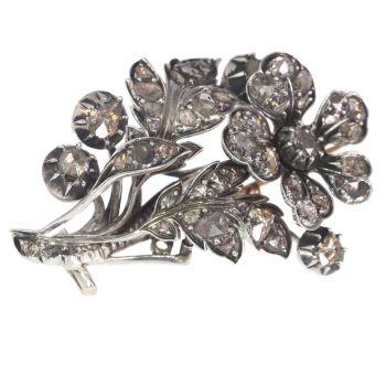 Antique diamond flower branch brooch by Unknown Artist