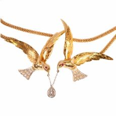 French Fifties necklace with two flying swallows carrying a pear shaped diamond by Unknown Artist