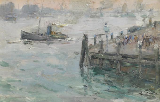 Dordrecht passengers waiting for the ferry to Zwijndrecht by Lucien Frank