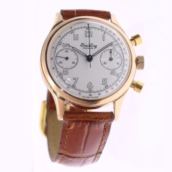 Vintage gold Breitling Mens Watch, 1945 fully refurbished by Breitling Switzerland by Unknown Artist