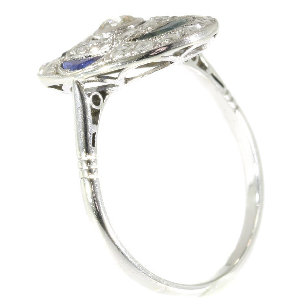 Vintage Art Deco Belle Epoque Diamond And Sapphires Engagement Ring by Unknown