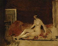 Sitting nude. French postimpressionism by Edouard Vuillard
