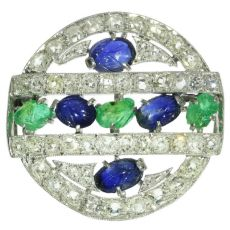 French Art Deco so-called tutti frutti brooch with diamond emerald sapphire by Unknown Artist
