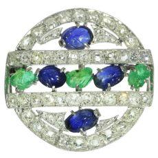 French Art Deco so-called tutti frutti brooch with diamond emerald sapphire by Unknown Artist