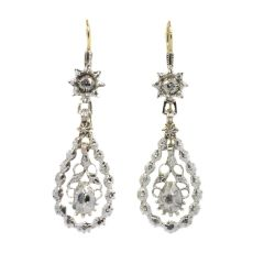 Antique Flemish diamond long pendent earrings late Georgian early Victorian period by Unknown