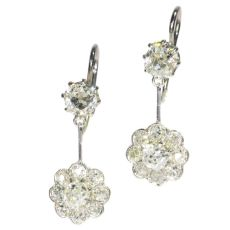 Platinum Art Deco pendent diamond earrings by Unknown Artist