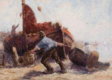 """Fishermen pulling a boat ashore"""