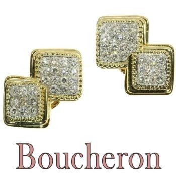 Signed Boucheron Paris estate diamond earclips gold and platinum by Boucheron .