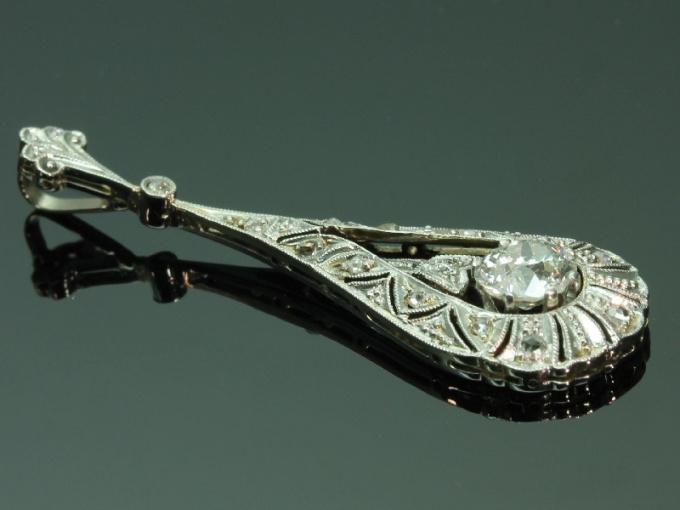 Edwardian pendant with big diamond by Unknown Artist
