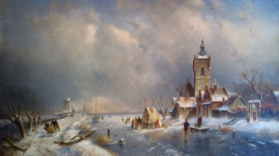 Winter, frozen river with ice-skating figures, right side a village by Charles Leickert