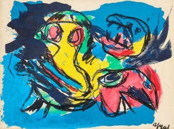Oiseaux et Tête by Karel Appel