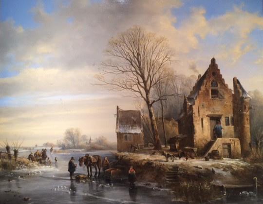 Winter Landscape with Frozen River by Abraham van der Waeyen Pietersen