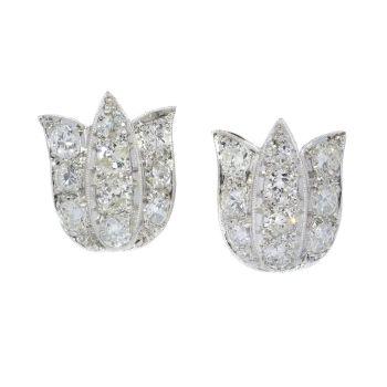 Vintage Art Deco platinum diamond earstuds tulip shaped by Unknown Artist