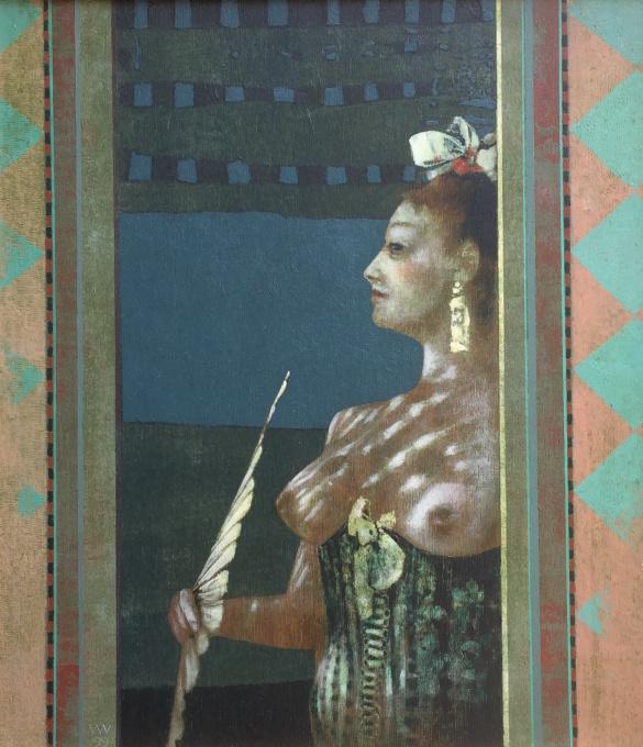 Vrouw met waaier  by Wout Muller