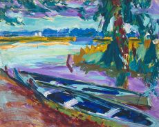 Roeiboten langs het water by Johan Dijkstra