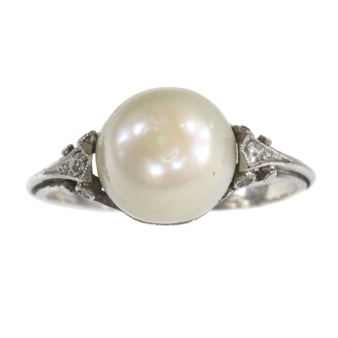 Vintage platinum ring with big pearl and rose cut diamonds by Unknown Artist