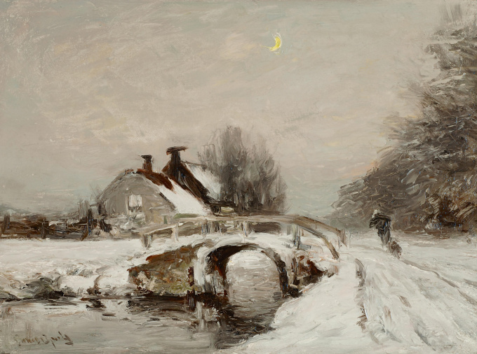 Peasant in winter landscape by Louis Apol