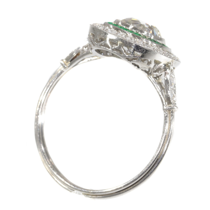 Vintage Art Deco style diamond and emerald engagement ring by Unknown