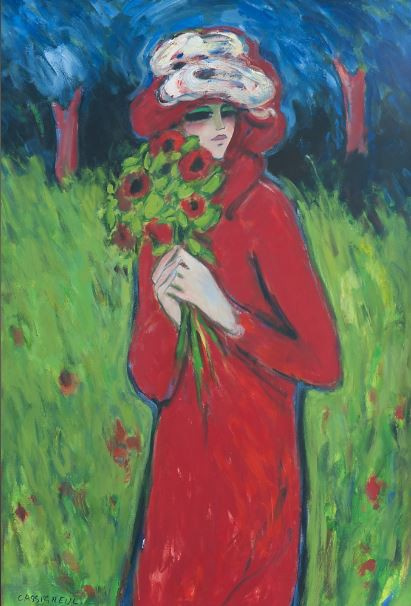 Woman in Red Cloak and Red Hat by Jean Pierre Cassigneul
