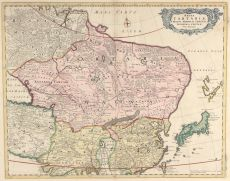 Map of Northeastern Asia, extending from the Island of Formosa, the Ganges and the eastern part of the Caspian Sea to Yedso, Tartaria, Siberia and Molgomzaia in Russian Asia in the North by Wit, Frederick de (1630-1706)