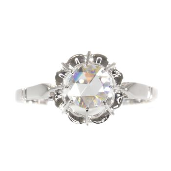 Vintage Art Deco large rose cut diamond engagement ring by Unknown Artist