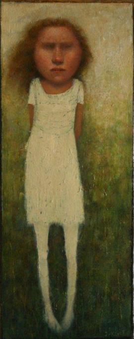 Staand meisje in witte jurk  by José van Kleef