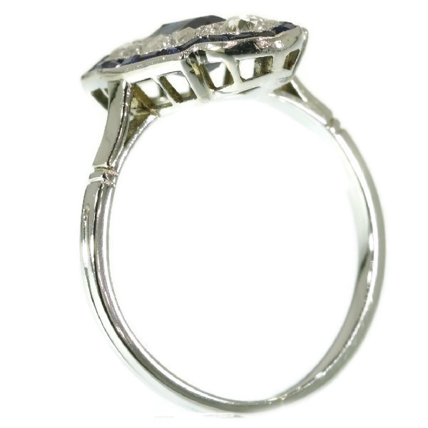Elegant estate platinum Art Deco diamond and sapphire engagement ring by Unknown Artist