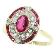 Art Deco diamond and ruby ring by Unknown
