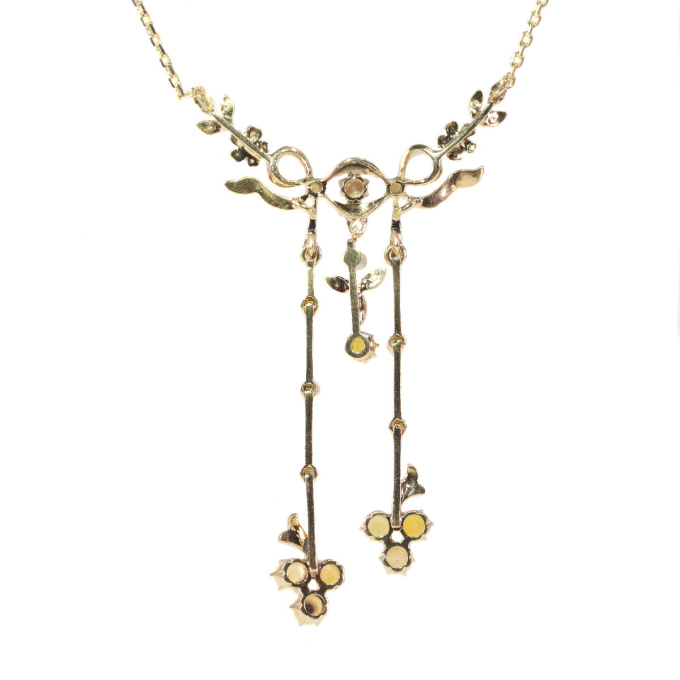 Late Victorian gold necklace with guirlandes set with natural half seed pearls by Unknown Artist