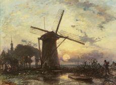 Windmill at sunset near Overschie by Johan Barthold Jongkind