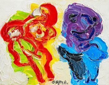 Mannetje met rode bloem by Karel Appel