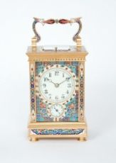 A French gilt brass cloisonne enamel carriage clock with grande sonnerie and alarm, circa 1890 by Unknown Artist