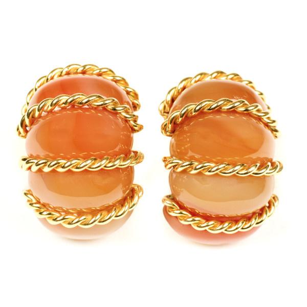 Seamann Schepps agate Shrimp earrings by Seaman Schepps